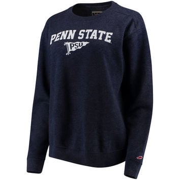 Women's League Heathered Navy Penn State Nittany Lions Victory Springs Tri-Blend Boyfriend Pullover Sweatshirt