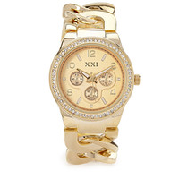 FOREVER 21 Chain-Link Chronograph Watch Gold One