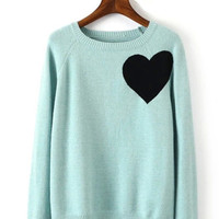 Mint Heart Knitted Sweater