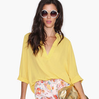 Yellow V-Neck Roll Tab Sleeves Loose Chiffon Top