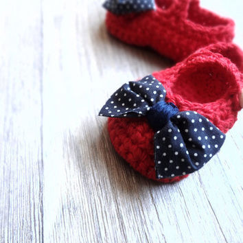 Nautical Red with Navy white Polka Dot Bow Tie Baby by beliz82