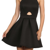 Katie Cute Scuba Peplum Pleated Dress-Embellish Neck-Black