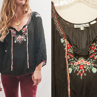 Womens Black Sheer Embroidered Boho Blouse | One Size S M L Bohemian Hippie Peasant Top | 70s Ethnic Embroidered Shirt Black and Red Floral