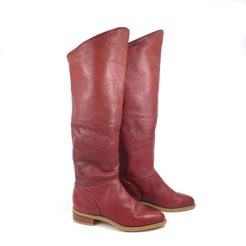 Otk Tall Boots Vintage 1980s Red Brown Leather Slouch Acme Women's size 6 1/2