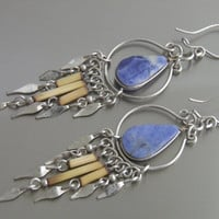 Artisan Chandelier Earrings with Sodalite Gemstone