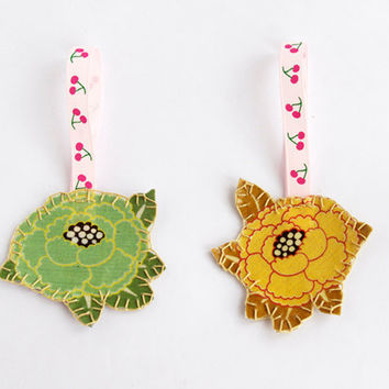 Flower bookmark green yellow, Fabric embroidery bookmark