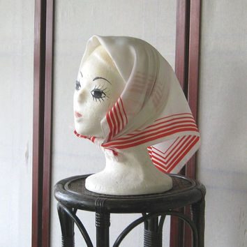 Mod Vintage White & Red Stripe Silky Head Scarf - Red Striped White Scarf - Paoli Vintage '60s Designer Scarf