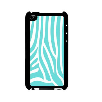 Mint Zebra Stripes iPod Touch 4 Case - For iPod Touch 4 4G - Designer Plastic Snap on Case