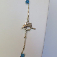 Chalcedony Necklace in Blue and Yellows, Sterling Silver Beads, SS Dolphin Clasp, Statteam