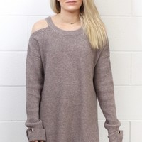 Feeling the Cold Shoulder Knit Sweater {Taupe}