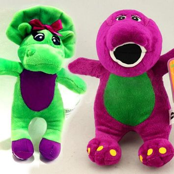 17CM 20CM Green Purple Dinosaur Barney Singing Plush Toys Soft Mini Toy For Baby Present Children Present have not Music Doll