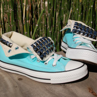 Studded Converse - Tiffany Blue High Tops - Studded Shoes/Chucks