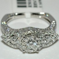 Vintage Engagement Ring 1.87ct Real Diamond 14K White Gold Euro Shank Flat pave