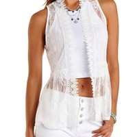Ivory Lace & Crochet Vest by Charlotte Russe