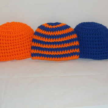 Preemie to Newborn Sized Crochet Team Spirit Hat Set in Blue and Orange - Crocheted Newborn Hat Trio