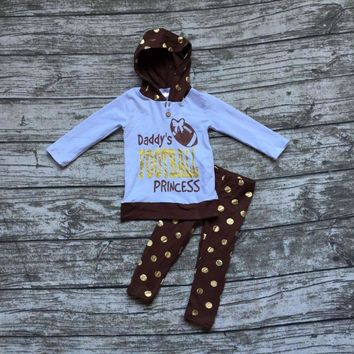 """3PC """"Daddy's Football Princess"""" Outfit Matching Hoodie and Pants"""
