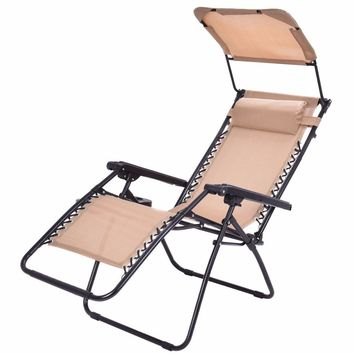 Folding Recliner Zero Gravity Lounge Chair With Shade Canopy & Cup Holder