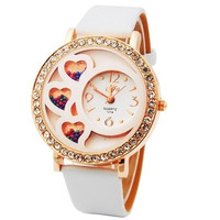 Dfa Round Dial Analog Watch with Crystals & Beads Decoration (White)