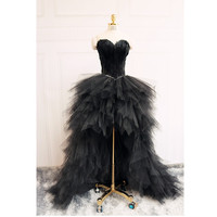 robe de soiree Luxury Black Feathers Long Back Short Front Prom Dresses 2016 Sweetheart Tiered Organza Specail Occasio Dresses