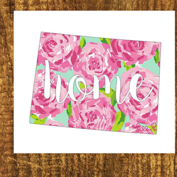 LILLY PULITZER Colorado Home Decal | Colorado State Decal | Homestate Decals | Love Sticker | Love Decal  | Car Decal | Car Stickers | 098