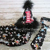 Pirate First Birthday Cake Smash Outfit personalized with name and age
