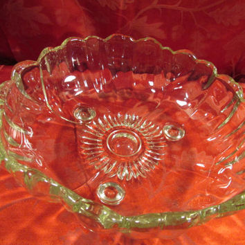 Vintage Round Large Clear Glass Bowl With Beautiful Curved Designs.