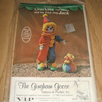 Crackers The Clown And His Trick Dog Jack Heartfelt Friends Gingham Goose Stuffed Plush Doll Making Craft Sewing Pattern Gwen Andrews Design
