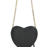 Faux Leather Heart Crossbody Bag