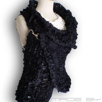 Black  wrap hand knitted vest jacket Black Cardigan Sweater Shrug unusual Sleeveless sweater Shrug