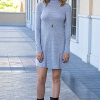 Macee Long Sleeve Grey Mock Dress