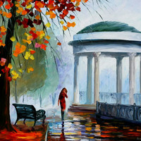 "Foggy park - PALETTE KNIFE1 Oil Painting On Canvas By Leonid Afremov - Size 36"" x 30"""