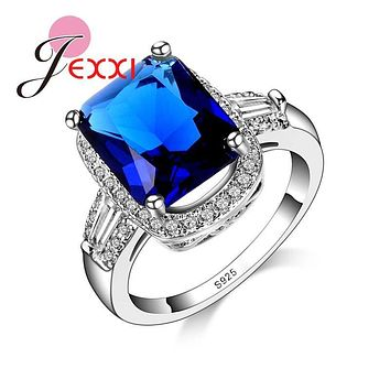 Jemmin Elegant Square Blue Princess Cut 925 Sterling Silver Wedding Engagement Rings For Women Fashion Band Anniversay Jewelry