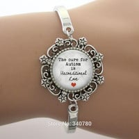 The cure for Autism is unconditional Love Glass Dome Lace Charm Bracelet Phrase,Note Photo Design Silver Bangle High Quality
