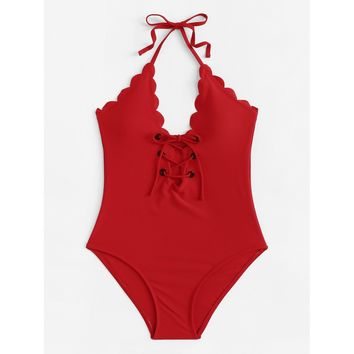 Lace-Up Scalloped Trim Swimsuit