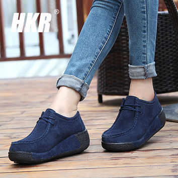 HKR 2016 autumn women platform casual shoes women leather suede wedges shoes flats casual boots for women lace-up creepers 862