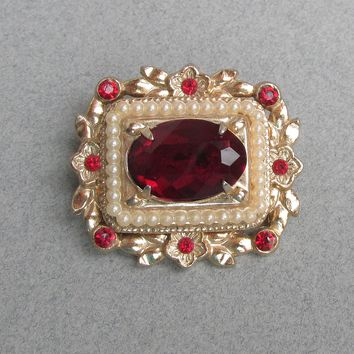 Early 1950's Vintage Signed CORO Square Ruby Red Rhinestone & Faux Seed Pearl Pin