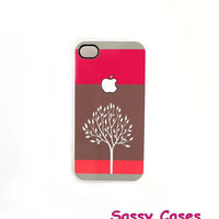 iPhone 4 iPhone 4S Case  iPhone Accessory Case Apple Tree Coral Pink Brown Ships from USA Hard Plastic Case