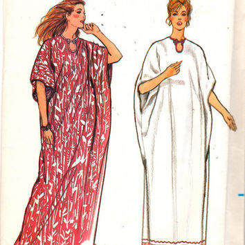 Butterick 3601 Sewing Pattern Retro 1980 One Size Caftan Housedress Robe Cover Boho Hippie Style Poncho