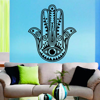 Fatima Hand Wall Decals Indian Pattern Hamsa Hand Eye Amulet Lotus Mandala Interior Design Home Art Vinyl Decal Sticker Bedroom Decor MR383