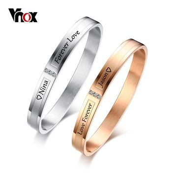 Vnox Personalized Engraving Name Info Couple Bracelets for Women Men Cuff Bangles AAA CZ Stones Stainless Steel Lovers Jewelry