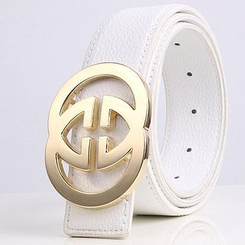 GUCCI 2 G Woman Fashion Smooth Buckle Belt Leather Belt-3