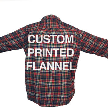 CUSTOM DESIGN Screen Printed Text Flannel Unisex Shirt (Colors may vary, All Sizes Available!)
