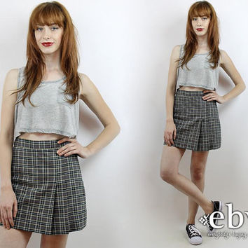 Vintage 90s Grunge Skirt S M Plaid Mini Skirt Plaid Skort Grey Plaid Skirt 90s Skirt Schoolgirl Skirt Skater Skirt Pleated Skirt