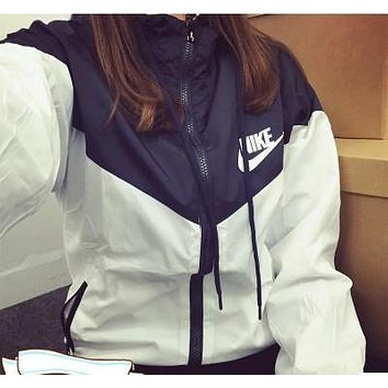 nike 3 colors fashion hooded zipper cardigan sweatshirt jacket coat windbreaker sportswear