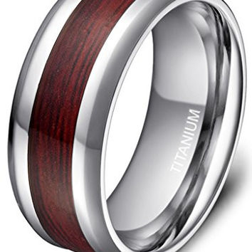 8mm Men's Titanium Ring Real Wood Grain Inlay Polished Beveled Edges Comfort Fit Wedding Band Size 5 - 14