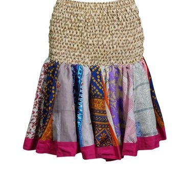 Flare Mini Skater Skirts for Women Recycled Sari Ruched Waist Flirty Hippie Chic Skirts
