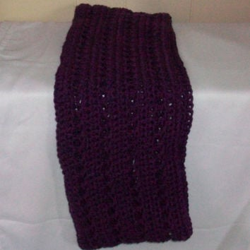 Purple Handmade Crochet Infinity Scarf/Cowl in Open Pattern, Acrylic Yarn