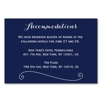 Custom Navy Blue Wedding Accommodation Cards Table Cards