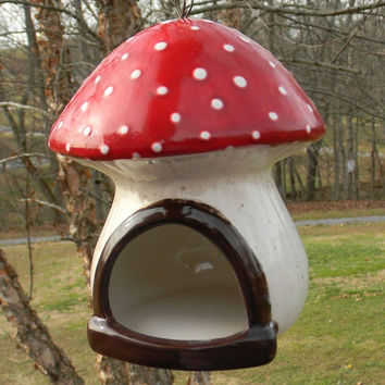Ceramic Mushroom Red Toadstool Hanging Ceramic Bird Feeder Mushroom House - Unique home for your Gnome, Fairy Garden or hamster home