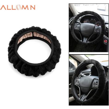 ALLOMN Car Steering Wheel Cover Winter Warm Fuzzy Cover No Need Stitch Soft Accessories for Most 36-38cm Car-styling Plush